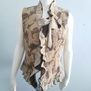 PAMELA McCOY Ruffled Leather Vest Brown Tan